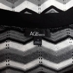 AGB Dresses - AGB Black, White and Gray Chevron Dress